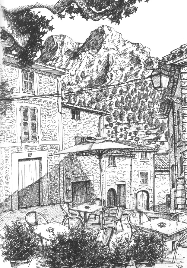 Cafe Corner, Biniaraix (2015 © Nicholas de Lacy-Brown, pen on paper)