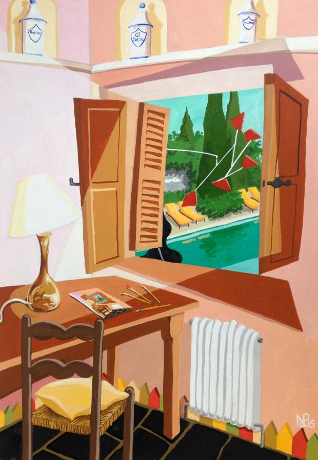 Honeymoon Suite I: Bedroom at La Colombe d'Or (2015 © Nicholas de Lacy-Brown, gouache on paper)