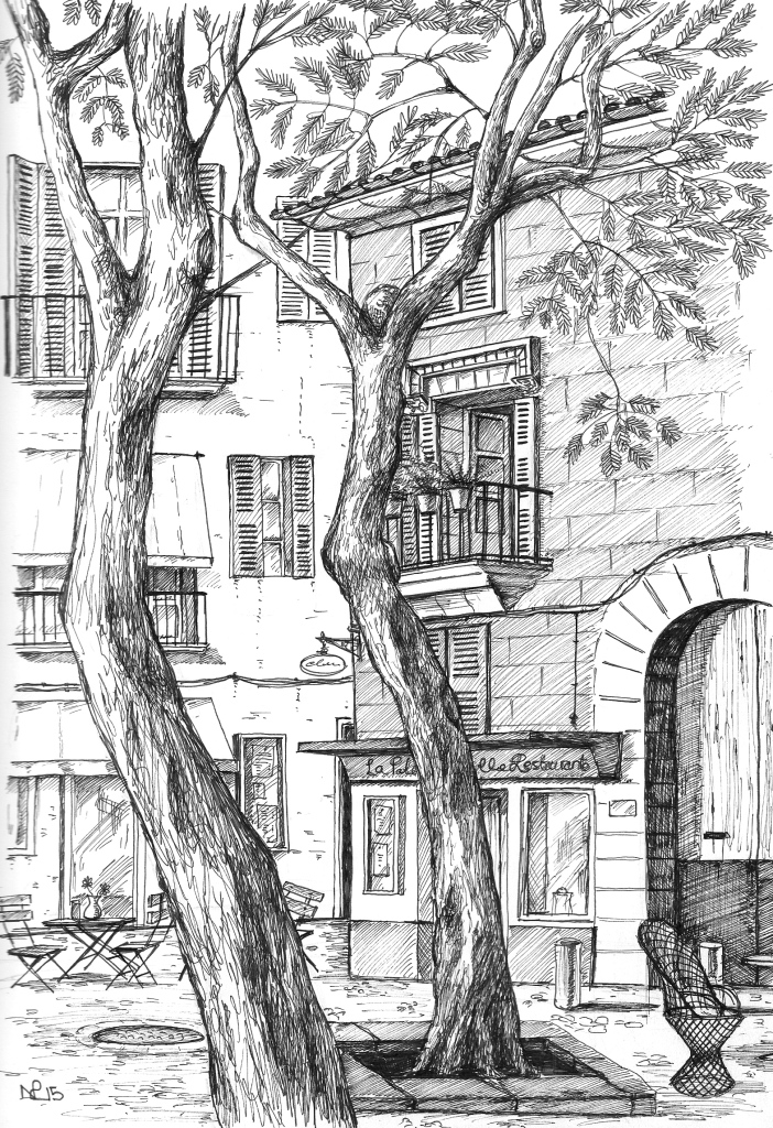 Resting on La Rambla (2015 © Nicholas de Lacy-Brown, pen on paper)
