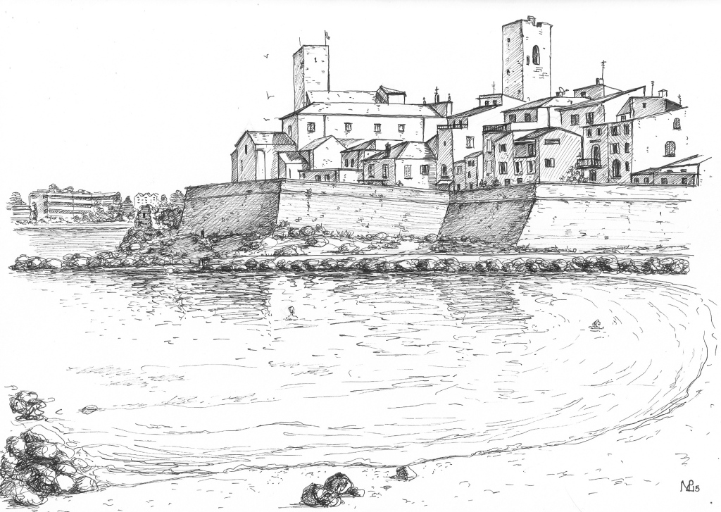 The beach at Antibes (2015 © Nicholas de Lacy-Brown, pen on paper)