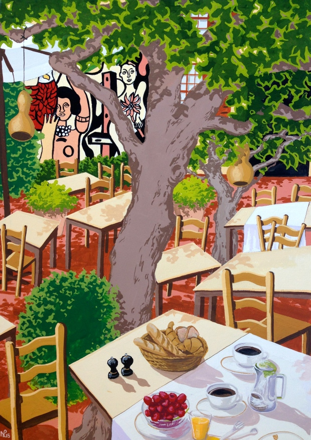 Breakfast at La Colombe d'Or (2015 © Nicholas de Lacy-Brown, gouache on paper)