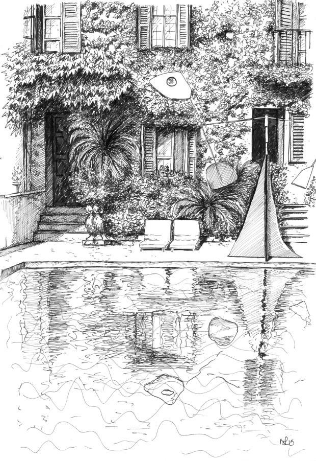 Poolside at La Colombe d'Or (2015, pen on paper © Nicholas de Lacy-Brown)