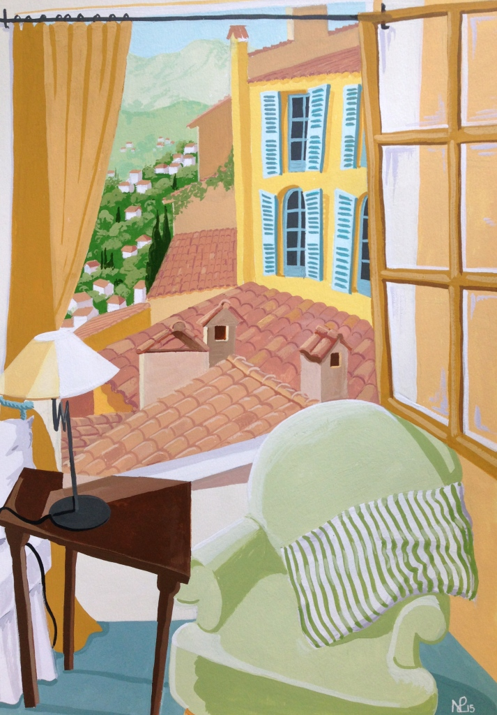Honeymoon Suite II: Bedroom in the Chateau de Cagnard (2015 © Nicholas de Lacy-Brown, gouache on paper)