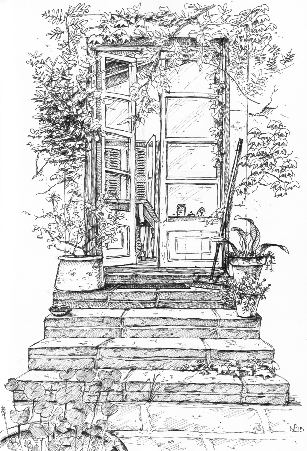 Garden at the Son VIscos (2015, © Nicholas de Lacy-Brown, pen on paper)