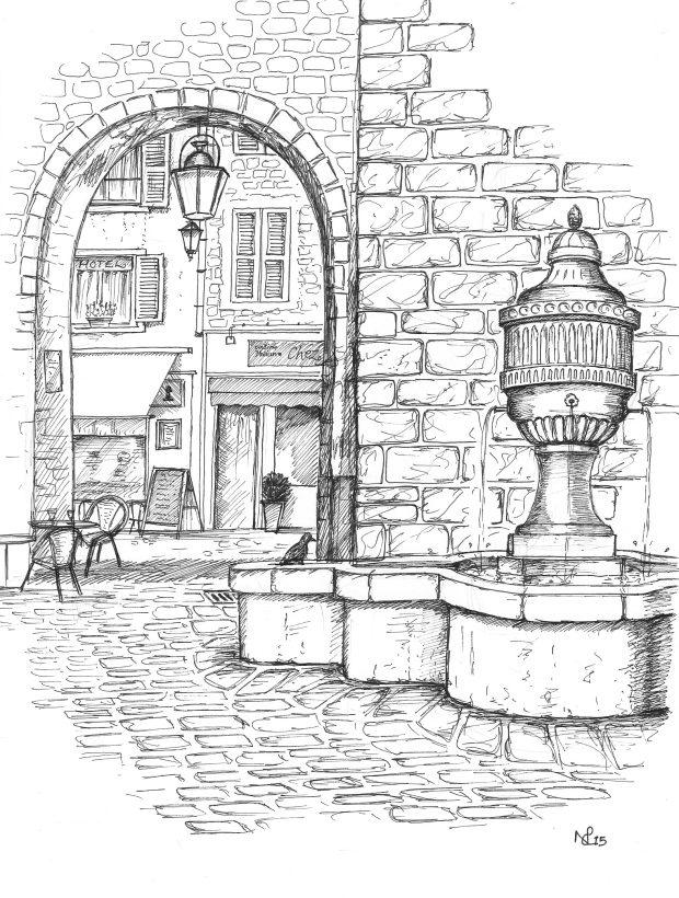 The Peyra Gate, Vence (2015 © Nicholas de Lacy-Brown, pen on paper)