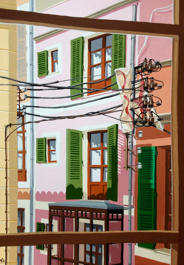 Ocho Balcones No. 2: Cables in the Calle (2015 © Nicholas de Lacy-Brown, gouache on paper)