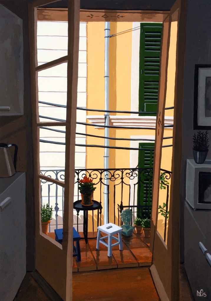 Ocho Balcones No. 3: KItchen Contrast (2015 © Nicholas de Lacy-Brown, gouache on paper)