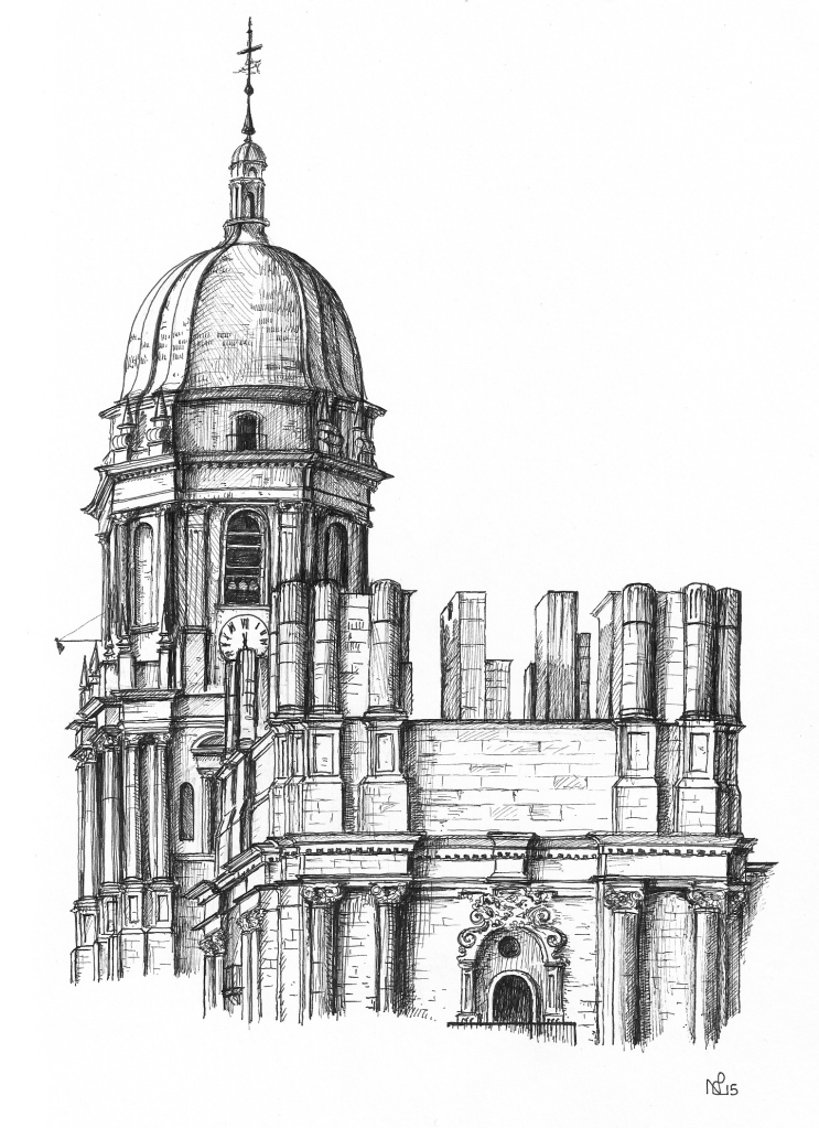 Malaga Cathedral, detail (2015 © Nicholas de Lacy-Brown, pen on paper)