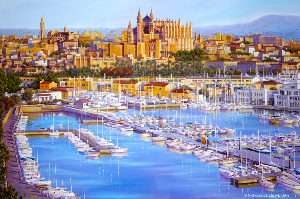 The Bay of Palma (2015 © Nicholas de Lacy-Brown, gouache on paper)