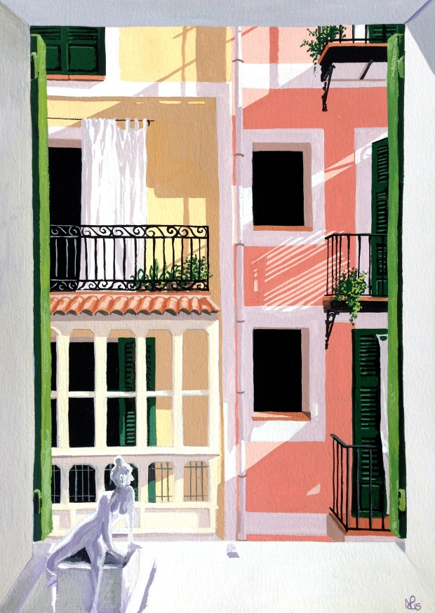 Ocho Balcones, No.5: The Summer Bathroom (2015 © Nicholas de Lacy-Brown, gouache on paper)
