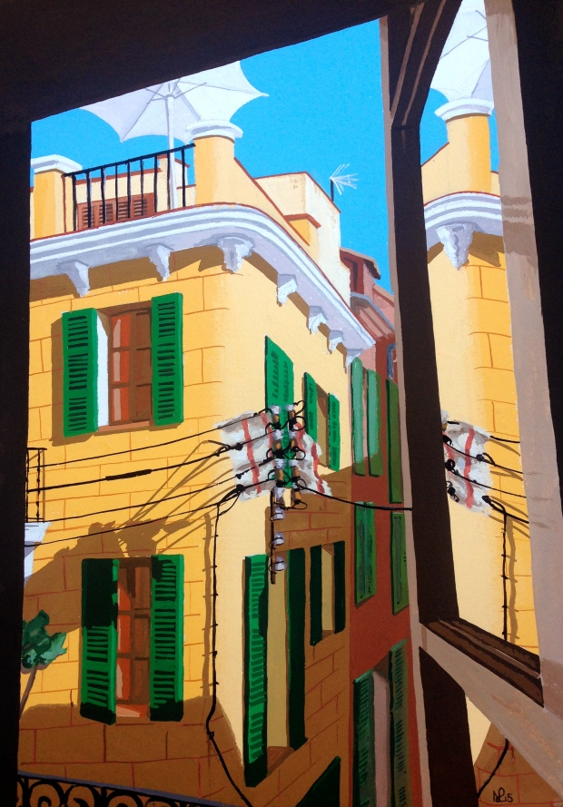 Ocho Balcones No.6: Angled Perspective (2015 © Nicholas de Lacy-Brown, gouache on paper)
