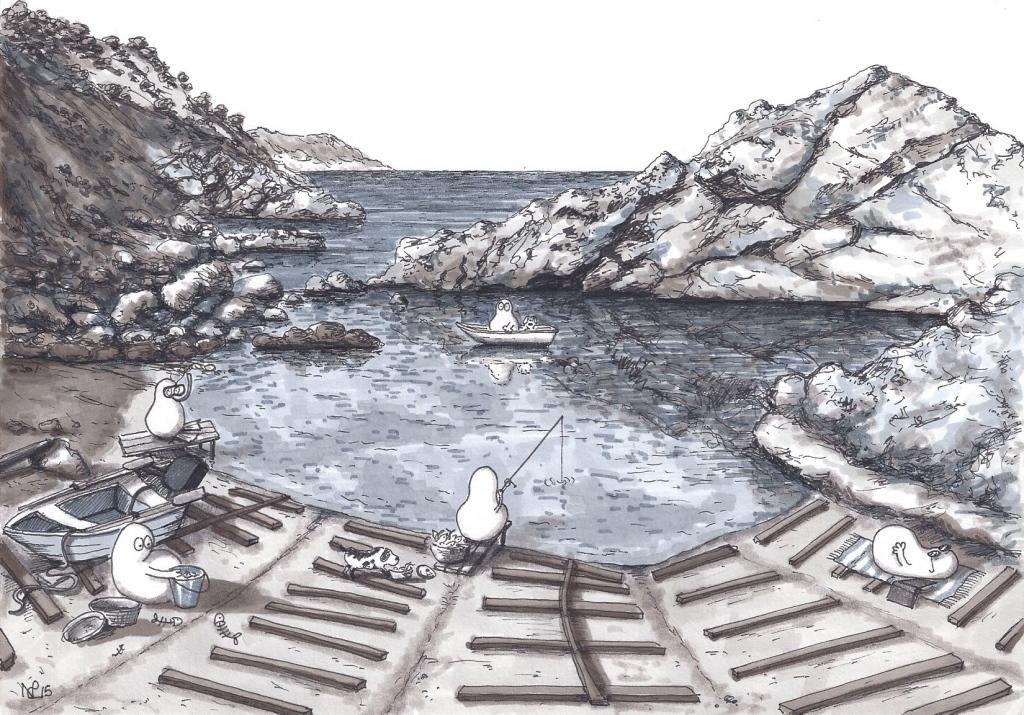 Norms in the Embarcadero of S'Estaca (2015 © Nicholas de Lacy-Brown, pen and ink on paper)