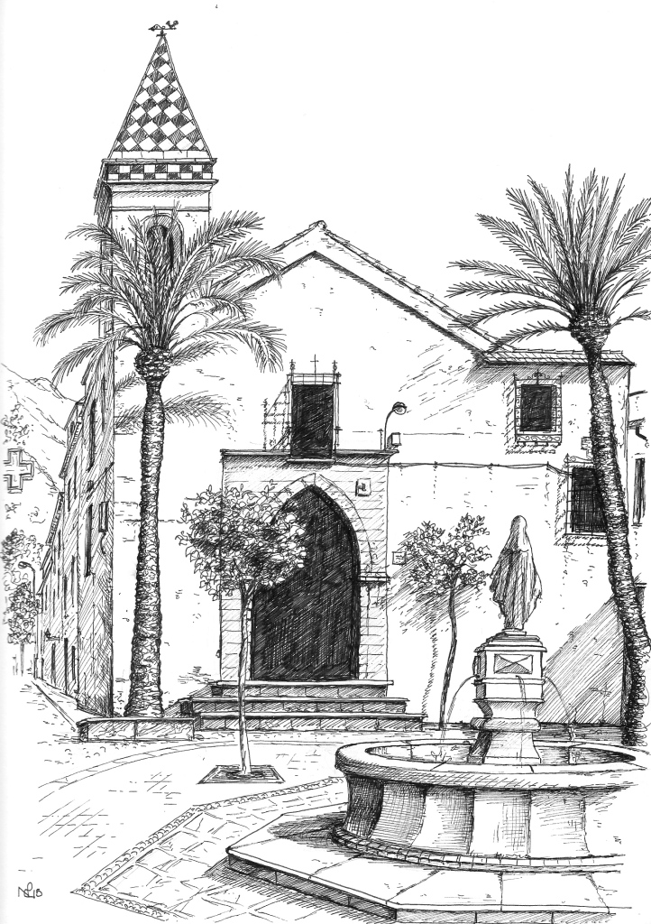 Plaza de Santo Cristo, Marbella (2015 © Nicholas de Lacy-Brown, pen on paper)