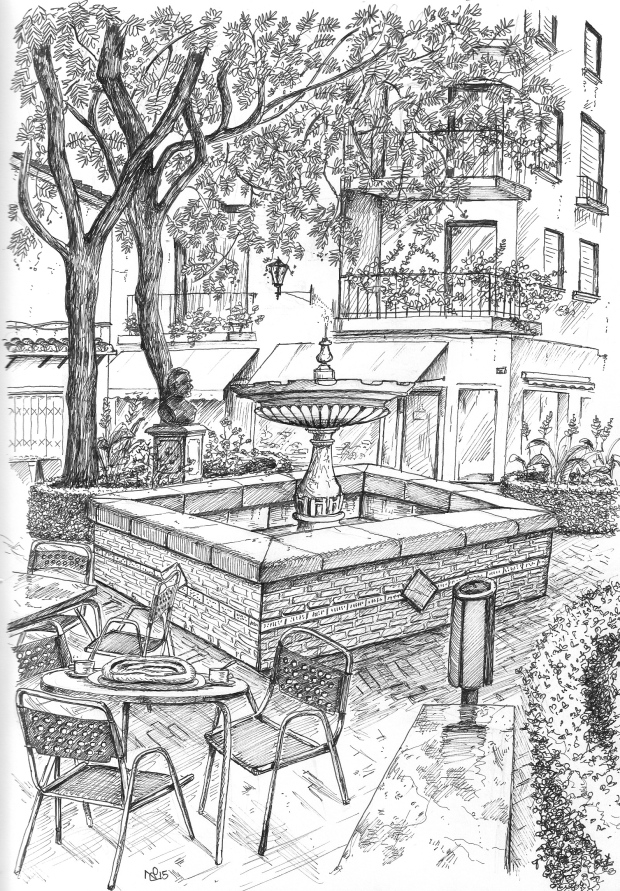 Plaza de la Victoria, Marbella (2015 © Nicholas de Lacy-Brown, pen on paper)