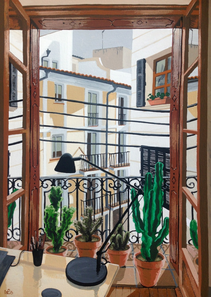 Ocho Balcones No. 7: Dominik's Office (2015 © Nicholas de Lacy-Brown, gouache on paper)