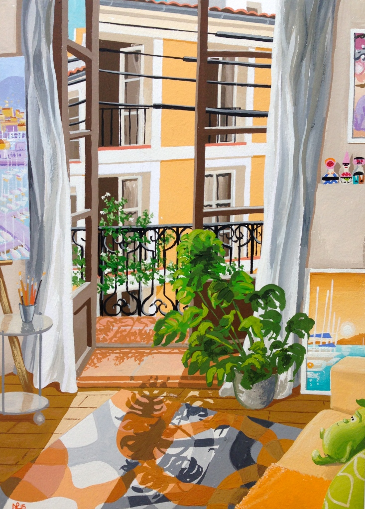Ocho Balcones VIII: The Artist's Studio (2015 © Nicholas de Lacy-Brown, gouache on paper)