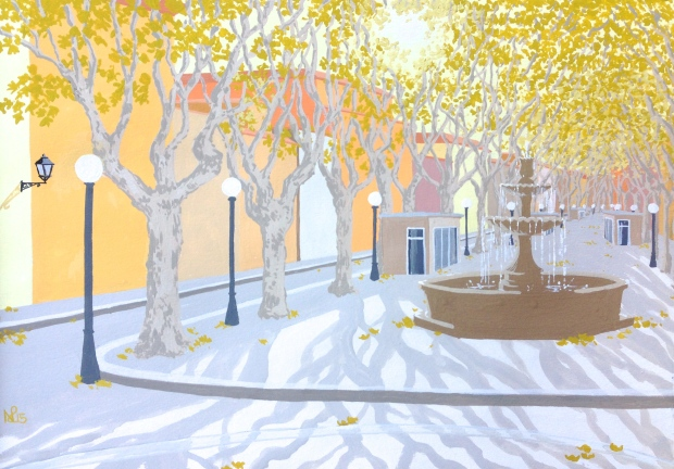 Interpretation No. 17 - Autumn light on La Rambla (2015 © Nicholas de Lacy-Brown, gouache on paper)