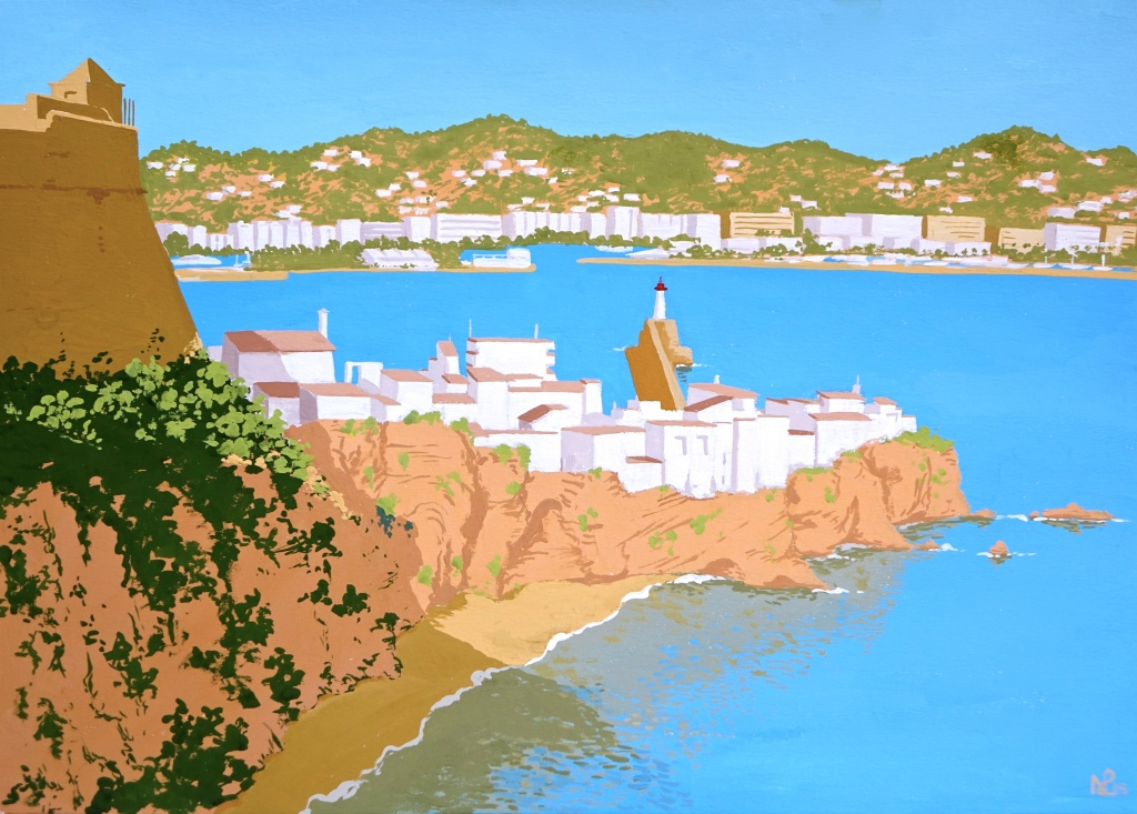 Interpretation No. 13 - Ibiza (2015 © Nicholas de Lacy-Brown, gouache on paper)