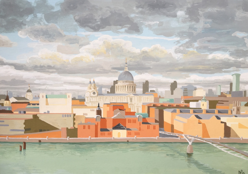 Interpretation No.18: London (2015, Nicholas de Lacy-Brown, gouache on paper)