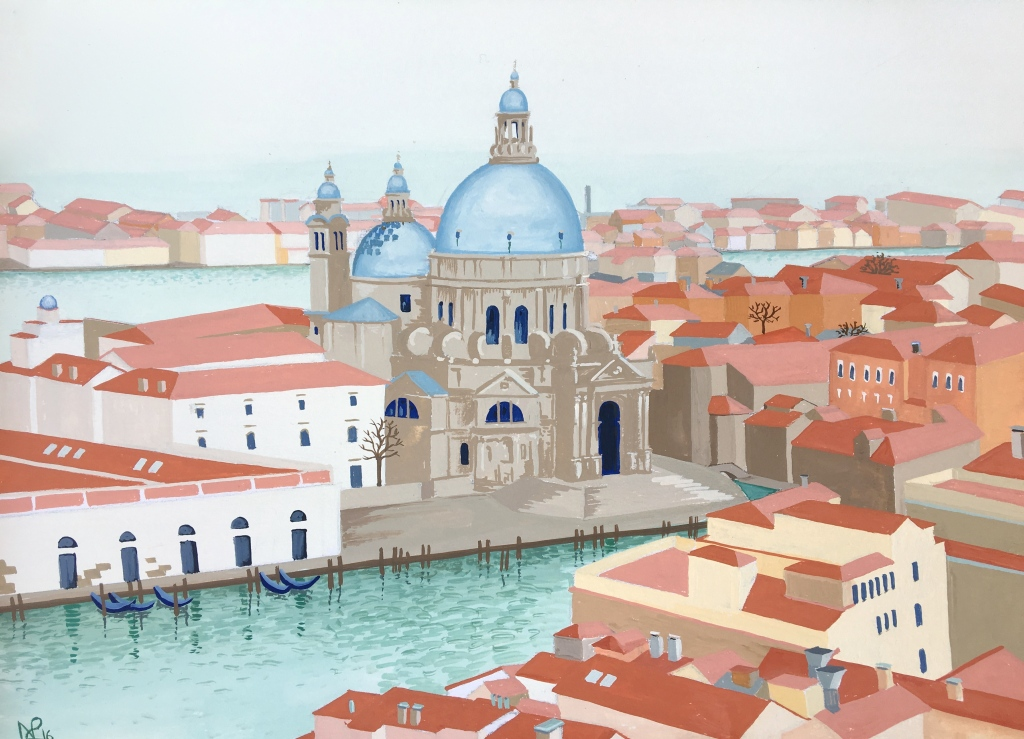 Interpretation No. 19: Venice, the Dorsoduro from above (2016 © Nicholas de Lacy-Brown, gouache on paper)