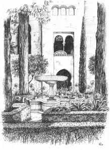 my granada sketchbook patio de daraxa the daily norm