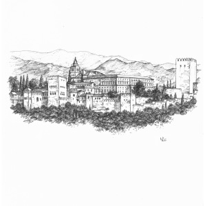 my granada sketchbook alhambra viewed from the albayzín the